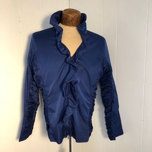 Womens Royal Blue ruffle top. Zip up. Size large.